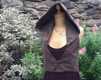 Hooded vest, Backless Pixie Elfling Waistcoat, Corset Detail