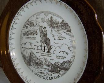 Jasper Park Alberta Canada Souvenir Plate Large Canada Plate
