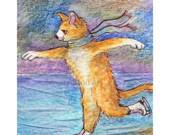 Ice skating cat 8 x 10 inch print in a hurry ginger cat tabby figure skater on the ice he's late for a very important date by Susan Alison