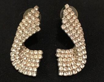Vintage rhinestone earrings for pierced ears, deco style, face-framing, elegant