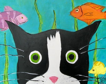 Tuxedo Cat kissed by a Fish - Cat Art Print - Cat with Fish -  5 x7  Print - Tuxedo Cat Painting - Cat Lover Gift - Silent Mylo Tuxedo Cat