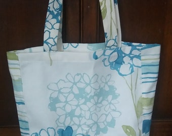Summer Blue Green Abstract Floral Cotton Tote Bag, Two Sizes Available, Shopping Bag, Reusable Bag, Eco Friendly Bag
