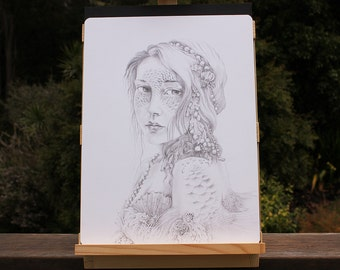 ORIGINAL Mermaid Fantasy Art Drawing, Water Nymph Portrait in Pencil, Hand drawn by Ginger Kelly Fairy Tale Illustration