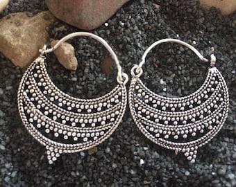 Silver Moon earrings-Tribal Jewelry-ChandBali Earring,silver hoop earrings-kucchi,filigree jewelry,Afghan earrings