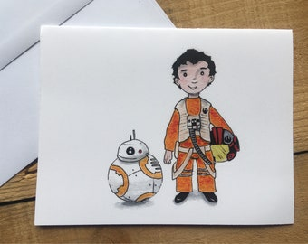 Poe and BB-8 blank notecards - The Last Jedi Poe Dameron BB-8 blank notecards