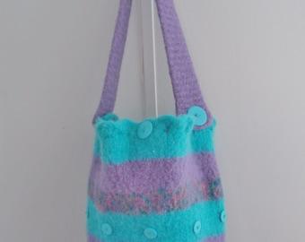 FELTED BUCKET BAG.  Handmade Original by Rochelle.  Purse/tote/shoulder bag.