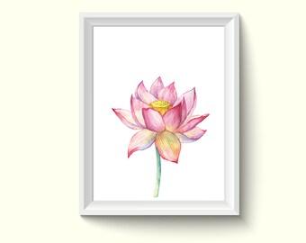Lotus Flower Watercolor Painting Poster Art Print P465