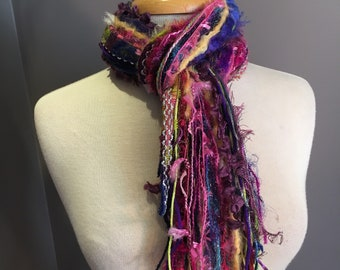 Fringie in Spring Break, Fringe Scarf, Handmade hand-tied art fringe scarf in purple pink blue, bohemian scarf, boho, fashion, yarn necklace