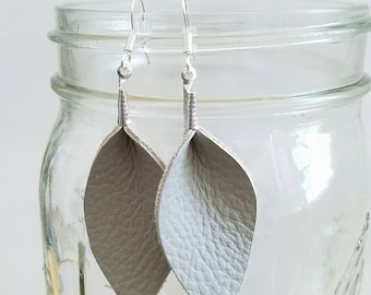 Boho Sunshine Gray Recycled Leather Feather Earrings Hypo-Allergenic Ear Hooks