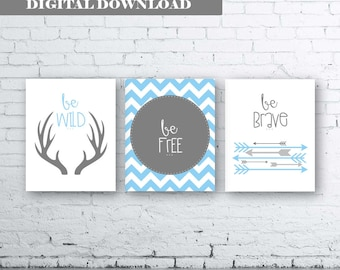 Woodland Wall Art Print Set of Three.Instant Download- Baby Boy Nursery Art Print. Be Wild Be Free Be Brave. Tribal Printable. Pale Blue Art