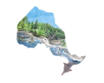 Ontario Art PRINT - Canadian - Canada Print - Ontario Print - Ontario Watercolor -  Ontario Province Art - Toronto Art - Ontario Art