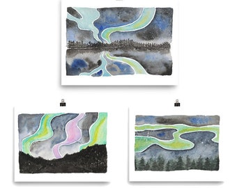 Set of three Northern Lights Prints for your Iceland Gallery Wall
