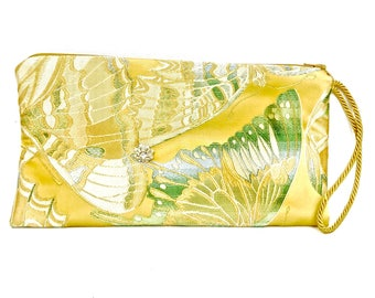 BUTTERFLY LADY Clutch - Yellow w/ Gold Cord