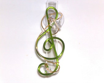 Music Lover Gift G Clef Glass Window Vase Flower Vase Hanging Vase with Suction Cup Glass Rooter Vase 3 inch Music Lover Gift