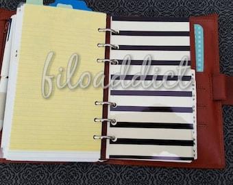 Personal Filofax Black planner dashboard