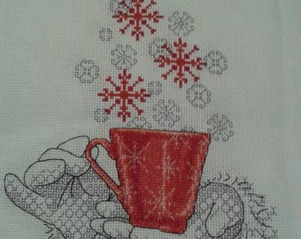 "CUP OF CHEER a beautiful completed cross stitch and black work  picture ready for framing  size 8""x 10"""