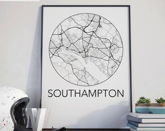 Southampton, England Minimalist City Map Print