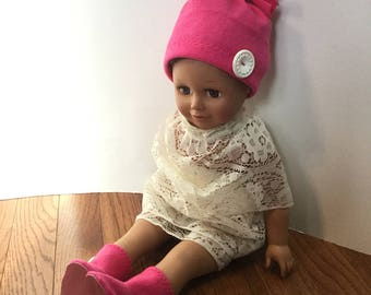 "Fleece Hat and Booties for 18 Inch Dolls. Bright Pink Fleece and White Buttons Trim. 18"" Doll Clothes. Fleece Doll Boots. Fleece Doll Hat."