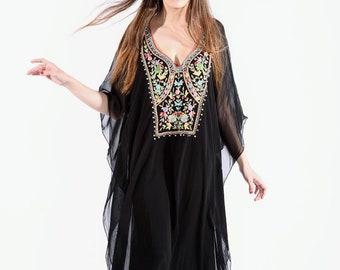 Black kaftan, caftans, kaftan dress, long boho dress, sheer, evening dress, maxi dress, embroidered caftan for an elegant look