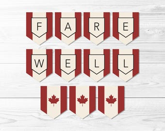 Farewell Canada Flag Banner -- Canadian Flag Banner, Flag of Canada, Maple Leaf, Farewell Party, LDS Missionary, Printable, Instant Download