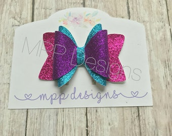 Blue Pink Purple Bright Double Glitter Bow