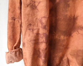 Hand Dyed Cotton Crew Neck Sweatshirt in Rose Clay, Anna Joyce, Portland, OR. Tie Dye, Terra Cotta