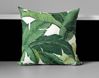 """Green Palms Pillow Cover - Tropical Tommy Bahama 18"""" x 18"""", Ready to Ship"""