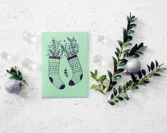"Hand screen printed ""oh, sweet stockings"" Christmas postcard (green+black)."