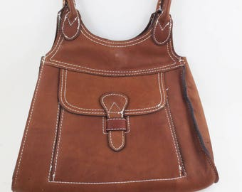 Vintage 70's Leather Purse Handbag Brown Boho Hippie Handles Made in Hong Kong
