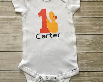 Rubber Duck First Birthday Onesie Cake Smash Outfit