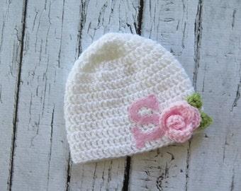 Monogrammed Baby Hat | Crocheted Girl Hat with Felt Initial | Newborn Baby Hat | sizes Newborn to Teen