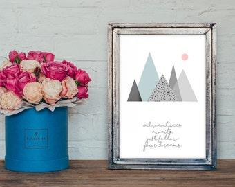 mountain nursery quote- Nursery Art, mountain print, Nursery wall art-nursery ideas -kids room decoration-