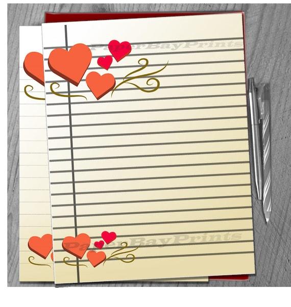 Papel para escribir imprimible, imprimir corazones Vintage, papel ...