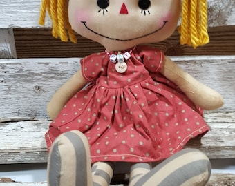 Raggedy Annie Kathy Annie Primitive Doll Raggedy Ann Pink And Brown Polka Dot Dress Annie Doll Ready To Ship!