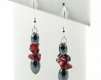 Hemetite And Garnet Short Dangle Earrings