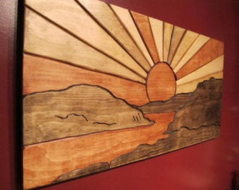 sunrise sunset sun and clouds Wooden Wall Plaque Modern Home Decor