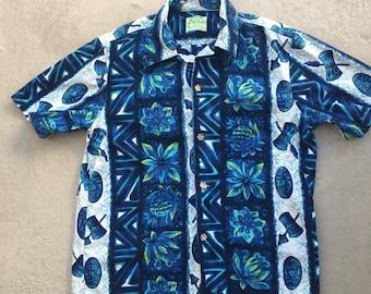 Vintage Hawaiian Tiki shirt blues by Ui-Maikai cotton Sz S/M