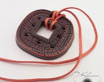 Boho polymer clay necklace