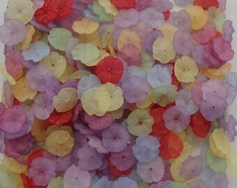 100 LUCITE FLOWER BEADS, petunias, yellow, orange, red, lemon, green, purple, jane possum bari, bead destash, jewelry making supplies