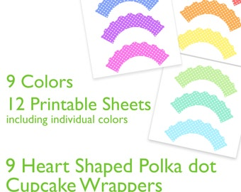 36 Printable Cupcake Wrapper Templates for birthdays, parties  - Scalloped Heart Polka Dot - Download & Print