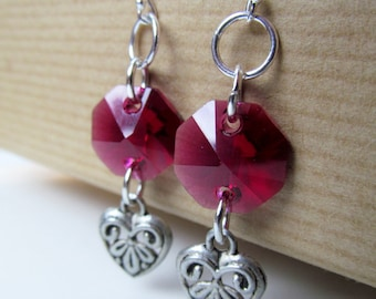 SALE Pink Crystal and Hearts Sterling Silver Earrings