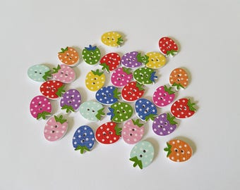 16mm strawberry buttons, Strawberry buttons, Wooden buttons, Craft buttons, Scrapbooking, Buttons, Button crafts, Strawberry, Fruit