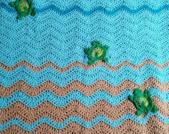 Crochet sea turtle blanket, beach lovers gift, sea turtle gifts, crochet baby blanket, coastal decor, beach decor, crochet turtle