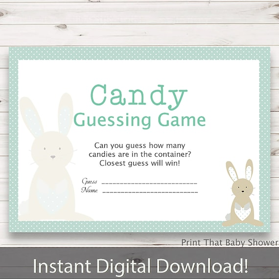 Baby Shower Games Candy Guessing Game Bunny And Stork Baby