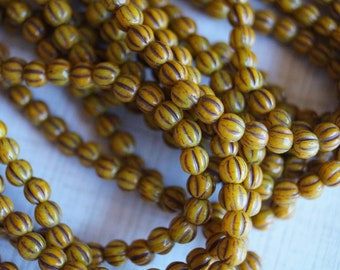 4mm Melon Round Beads - Yellow with Brown - Czech Glass Beads - Yellow fluted Beads - Bead Soup Beads