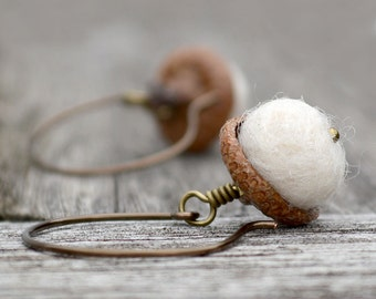 Earrings White Acorn Open Hoop Felt Ball Winter Woodland