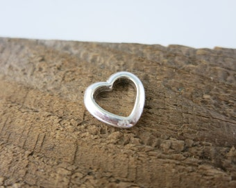 Sterling Silver Heart,  12x11mm, 1 Heart shaped Ring, Ready to Ship!
