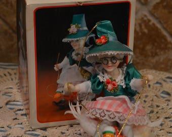 Kurt S. Alder Mother Goose Ornament~1985~Porcelain~Real Feathers~Kurt S. Alder, Inc.