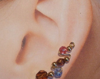 Climbing  Earrings -  Tri-color Double Zig-Zag Style Custom Made