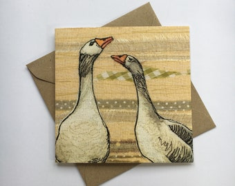 Printed Embroidery Geese Card